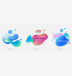 fluid abstract dynamic shapes set trendy badges vector image