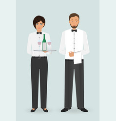 food service occupation staff couple of male vector image