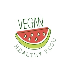 Fresh Vegan Food Promotional Sign With Slice Of vector image