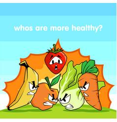 fruits vs vegetables vector image