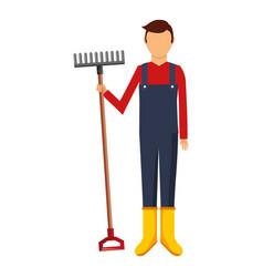 Gardener with rake avatar character icon vector