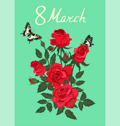 Greeting card with red roses and butterflies vector
