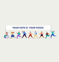 Group people walking with flags to elections vector