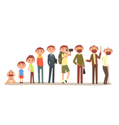 growing up of a man from infant to grandfather vector image