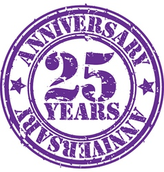Grunge 25 years anniversary rubber stamp vector