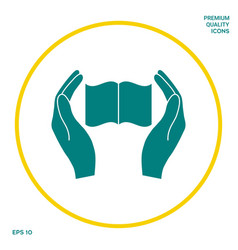 hands holding book- protection icon graphic vector image
