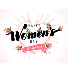 happy womens day typography poster with heart and vector image