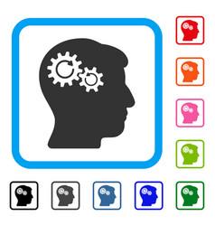Head wheels rotation framed icon vector