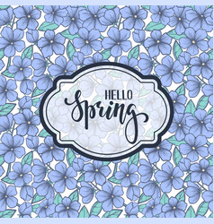 Hello spring hand drawn brush pen lettering on vector