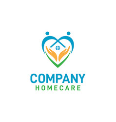 Home care logo design with palm hands inside vector