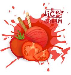 ice cream tomato ball dessert choose your taste vector image