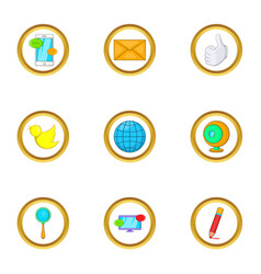 Internet icon set cartoon style vector