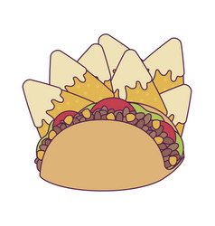 Isolated mexican taco and nachos design vector