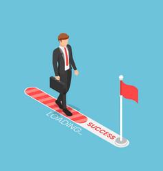 Isometric businessman walking on progress loading vector
