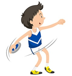 Male athlete doing discus throwing vector image