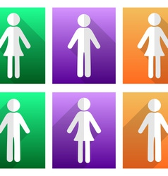Man and woman flat icons vector image