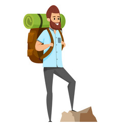 man hiking or climbing sporty hobby risk vector image
