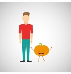 Man with cartoon fruit peach vector