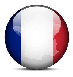 Map on flag button of French Republic France vector image
