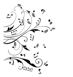 Musical notes swirls vector