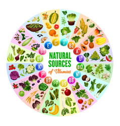 natural vitamin vegetarian food sources vector image