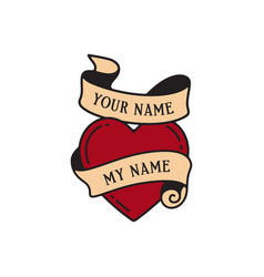 Old school tattoo emblem label with heart symbol vector