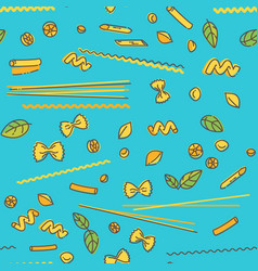 Pasta and basil seamless pattern on blue vector
