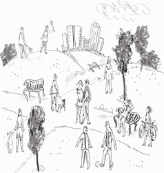People in Park vector
