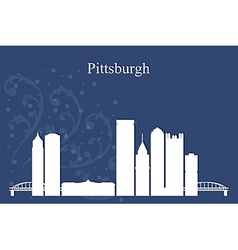 Pittsburgh city skyline on blue background vector