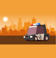police sedan on city landscape background isoflat vector image