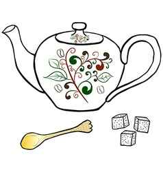 Pottery teapot sugar and spoon hand drawing vector image
