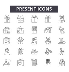 present line icons signs set outline vector image