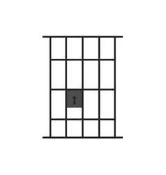 Prison door line icon jail gate heavy metal frame vector