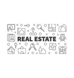 real estate horizontal outline banner or vector image