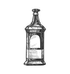 Rectangular vintage whisky booze bottle vector