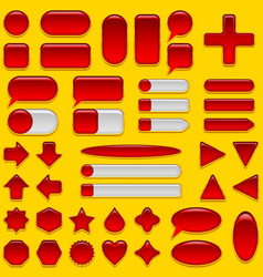 Red glass buttons set vector image