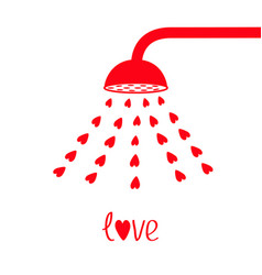 red shower bath douche with red hearts water aqua vector image