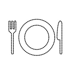 restaurant kitchen plate with fork and knife vector image