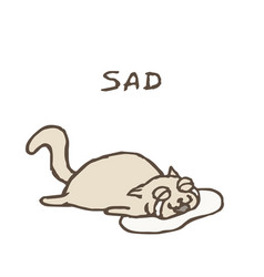 sad gray cat tik lies in tears vector image