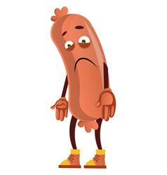 Sad sausage on white background vector
