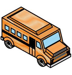 School bus transport isometric icon vector