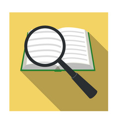Seraching of information in the book icon in flat vector