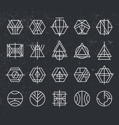 set of abstract linear hipster logos vector image