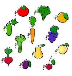 Set of icons vegetables and fruits vector image