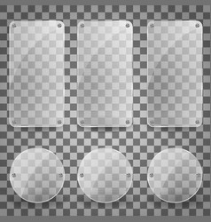 set of realistic glass plate shiny vector image