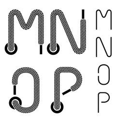 Shoe lace alphabet letters M N O P vector