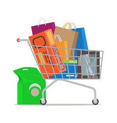 Shopping trolley full different purchases vector