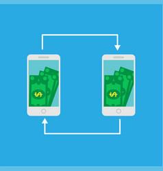Smartphone screen with money internet banking vector