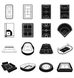 Stadium black simple icons set vector