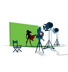 Superheroine movie set vector